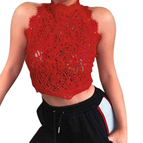 OSYARD Damen Ärmellose Casual Spitze Crop Tops Bluse Sommer Party Weste Top Solide T-Shirt(EU 42 / L, Rot)