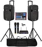 """IMPIANTO AUDIO COMPLETO 2 casse amplificate 1100w attive 12"""" + mixer 8 canali BLUETOOTH + stativi + microfoni wireless + cavo 3 mt."""