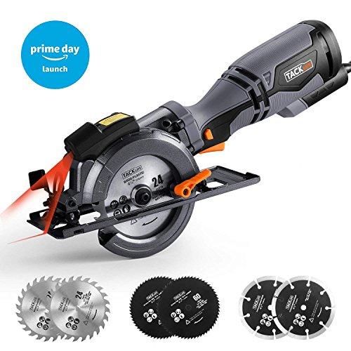 Kreissäge 710W Sägeblatt Ø 115 mm 3500 RPM, Tacklife TCS115A Kompakte elektrische Säge mit Laser Guide, 6 Klingen für verschiedene Materialien, einstellbare Schnitttiefe 0-43mm und Neigungswinkel (0-45°)