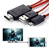 Dshs 6,5Pieds 11broches câble adaptateur micro USB vers HDMI 1080P HDTV pour Samsung Galaxy S5, S4, S3, Note 3, Note 2, Galaxy Tab 38.0, Tab 310.1, Tab Pro, Galaxy Note 8, Note Pro 12.2(pas pour Tab 37.0, Note 10.1, Note 3N9008V)