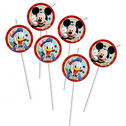 Micky Maus - Party Geburtstag Trinkhalme Strohhalme 6 Stk. Mickey Mouse