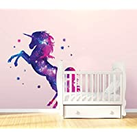 Stars Unicorn Wall Sticker Fantasy Girls Bedroom Wall Art Cute Nursary Decal