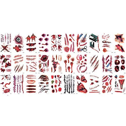Mumie Kostüm Tutu - CANDLLY Halloween Dekoration Cosplay 30 Stück Wasserdichte Vampire Temporäre Fake Tattoos Blutige Aufkleber Wundstich Narben Zombie Vampir Narben Sticker Tattoo Party Zubehör