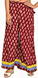 Exotic India Casual Palazzo Pants from Pilkhuwa with Printed Bootis and Patch Border - Color Windsor Wine Garment Size Einheitsgröße meisten