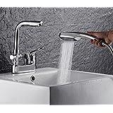 LJHH Robinet de cuivre avec double vasque shampoing douche lavabo robinet bassin trou en rotation,c
