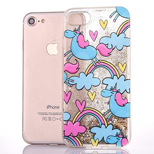 iPhone 7 4.7 Hülle, Voguecase Silikon Schutzhülle / Case / Cover / Hülle / TPU Gel Skin für Apple iPhone 7 4.7(Perlen Treibsand-Hustle Baby-Pink) + Gratis Universal Eingabestift Regenbogen Einhorn 02 / Golden