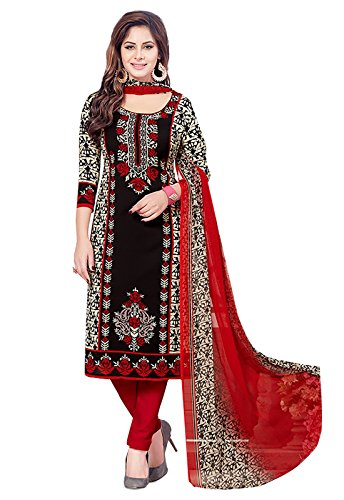 Ishin Women\'s Dress Material (Darvr2158R_Black & Red_One Size)