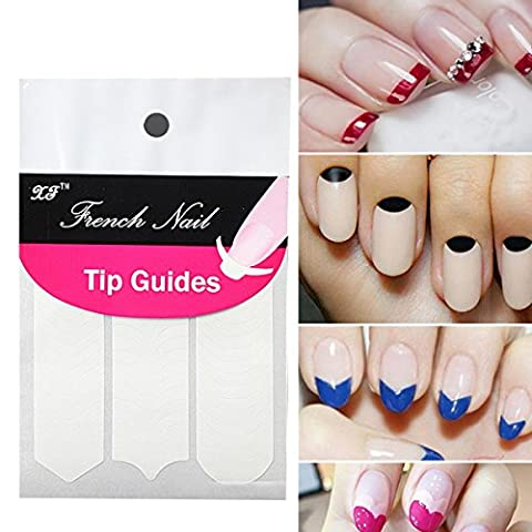Butterme Nail Art Designs Französisch, Chevron & Teardrop-Nagel-Spitze-Führer-Aufkleber (3 style 1 Packung)