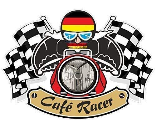 Retro Cafe Racer Ton Up Biker Design mit Deutschland Flagge für Neu Motorrad Vinyl Auto Rad Helm Aufkleber Abziehbild 90x65mm