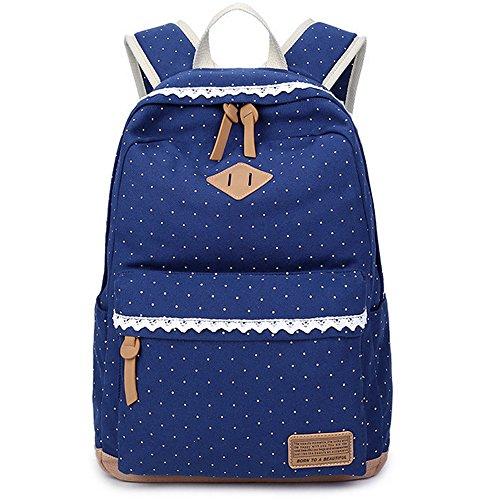 leichter Rucksack Mädchen Retro Canvas Taschen niedlich Casual Schultaschen für Damen Dunkelblau (Niedliche Mädchen Teen)