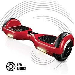 """ACBK - Patinete Eléctrico Hover Autoequilibrio Basic con Ruedas de 6.5"""" + Luces LED integradas, Velocidad máxima: 10-12 km/h - Autonomía 10-20 km - Carga soportada: 20-100kg (Rojo)"""