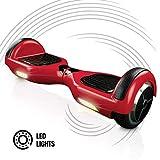 ACBK - Patinete Eléctrico Hover Autoequilibrio Basic con Ruedas de 6.5' + Luces LED integradas, Velocidad máxima: 10-12 km/h - Autonomía 10-20 km - Carga soportada: 20-100kg (Rojo)