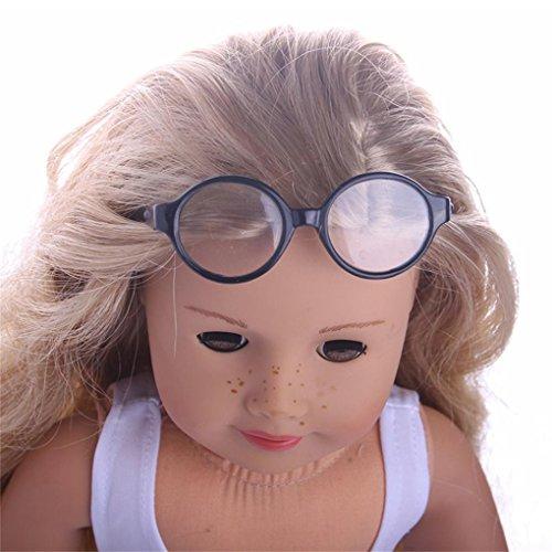 Puppe Gläser , YUYOUG Stilvolle Kunststoffrahmen Sonnenbrille für 18 Zoll Unsere Generation American Girl Doll Und Andere 43-46 Cm Puppen (E)