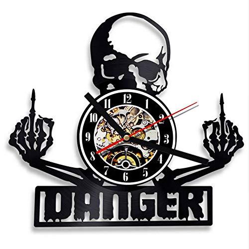 Syhua Creative Vinyle Horloge Murale Design Moderne Crâne Horloges Noir Creux 3D Décoratif Classique CD Disque Mur H Décor À La Maison Silencieux