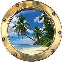Youdesign - Pegatina adhesiva de portilla al océano (30 x 30 cm), diseño de playa con palmeras