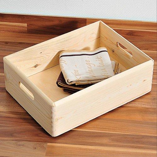 Kesper 6 Stück Allzweckkiste, Holzkiste, Aufbewahrungskiste, aus FSC®- Kiefernholz, Maße: ca. 400 x 300 x 140 mm, Natur