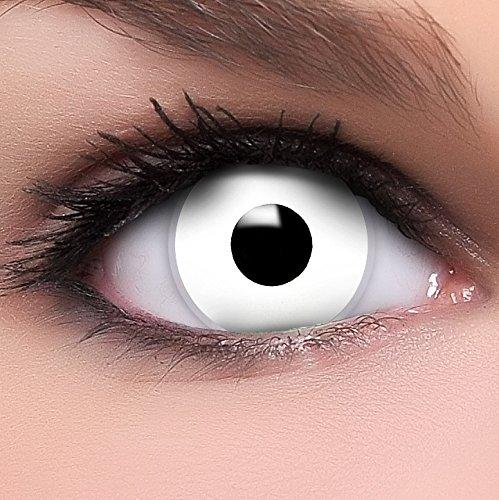 Farbige weiße Kontaktlinsen Zombie MIT STÄRKE + Behälter von Linsenfinder, weich, als 2er Pack - angenehm zu tragen und perfekt zu Halloween, Karneval, Fasching oder Fasnacht