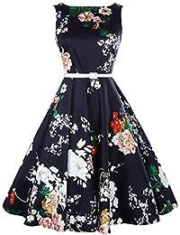 Kongqiabona Peony Flower Retro Cintura Alta Falda Grande Swing Europa y la Cintura Vestido Adelgazante Falda