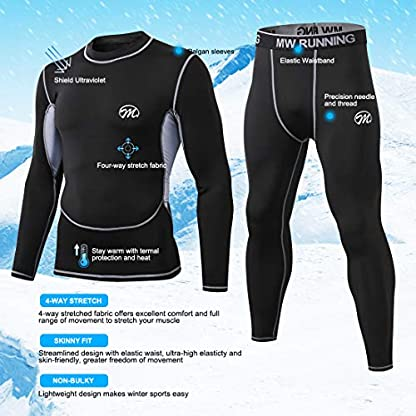 MeetHoo Men's Thermal Underwear Set, Compression Base Layer Sports Long Johns Fleece Lined Winter Gear Running Skiing 4