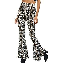 Keephen Pantalones con Estampado De Serpientes Leopard De Campana Bohemios