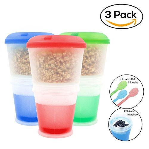 Müsli to go Becher - Der Müsli-Reise-Becher-Dose-Schüssel mit integriertem Milch Kühlfach für den Müslispaß 2 go. Extra Löffel (3er Set)
