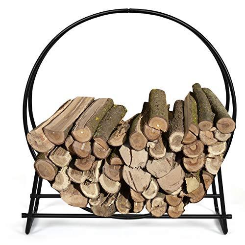 DREAMADE Brennholzhalter rund, Kaminholzständer aus Eisen, Brennholzständer Holzhalter Brennholzhalter für Terrasse/Garten/Zimmer