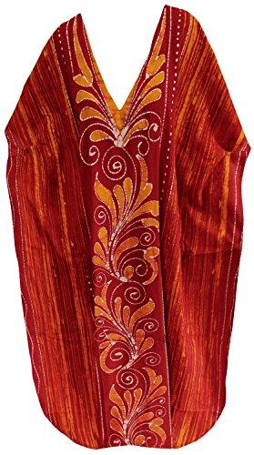 La Leela beachwear 100% coton maillots de bain salon décontracté des femmes porter robe maxi long caftan Orange