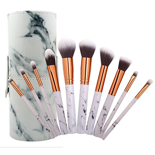 Coshine 10 stücke Pro Marmor Make-Up Pinsel Set mit Marmor Bürstenhalter, für Lose Pulver,...