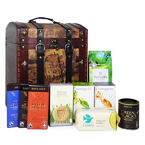 Tea, Coffee and Cocoa with Chocolate and Biscuits Gift Hamper Presented in a Vintage Style Chest - Gift Ideas for Christmas, Valentines, Mothers Day, Birthday, Anniversary, Business and Corporate