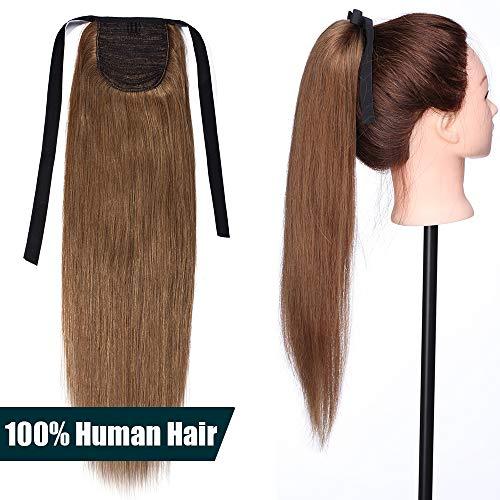 50cm coda capelli extension veri con clip #6 castano - remy human hair ponytail cavallo tie up fascia unica clip in hair naturali lisci 95g