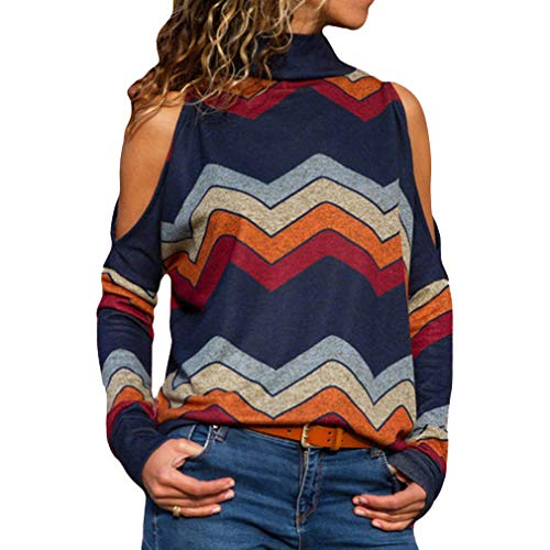Damen Tops Langarmshirt Schulterfrei Hoher Kragen Lose T-Shirt Frauen Pullover Hemd Casual Tunika Blusen Party Bluse Blau/Orange/Dunkelblau (Distressed Damen Stiefel)