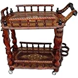 Artesia Wooden Service Trolley with Brass Inlay Work & Carving