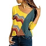 GreatestPAK Damen Blusen Lange Ärmel gewellte Streifen Nähte Oberteile Spleißen Farbe Drucken Lässig Hemd Leicht Bluse