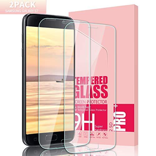 Youer Galaxy S7 Panzerglas Schutzfolie, [2 stück] HD Ultra-klar Abdeckung Gehärtetem Glas Displayschutzfolie, Anti-Kratzer, 9H Härte, Anti-Fingerabdruck, Anti Staub,Blasenfreie - Transparent