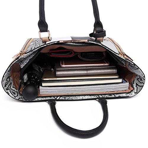 Miss Lulu Borsa da donna Bolso da mano Donne a forma di V Borsa stampa serpente di moda borsa a tracolla Borsa a strisce patchwork (6624 Nudo) 6624 Nudo