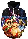 AMOMA Damen Weihnachten Hoodie Halloween Sweatshirt 3D Digitaldruck Kapuzenpullover(S/M,Christmas Fireworks)