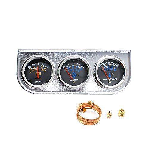 5,1 cm 52 mm Chrome de voiture Jauge de Triple Ensemble kit Amp Mètre d'eau Température pression d'huile 3 en 1
