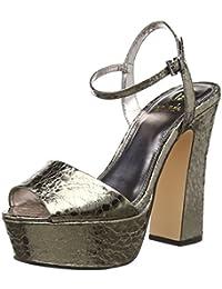 La Strada Pewter Cracked Leather Look Sandal - Sandalias Mujer