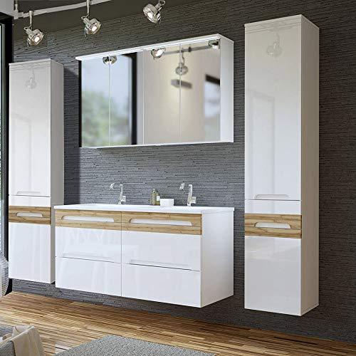 oppel-Waschtisch Set, Hochglanz weiß mit Wotaneiche, Waschtisch-Unterschrank mit Keramik-Waschbecken ()