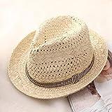 LIWEIL Trabajo Hecho a Mano Mujer Verano Rafia Paja Sombrero para el Sol Boho Playa Sombrero de Fedora Sombrero para el Sol Hombres Sombrero de Panamá Gorro de gángster