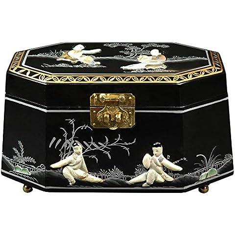 El mejor regalo de lujo hermosos muebles Orientales, cm 27,94 Antoinette bien laca joyero, color negro