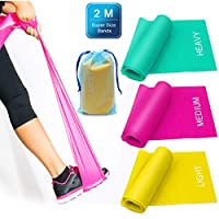 Zhichengbosi 3 Pack Resistance Exercise Band Set, 2 m x 15 cm Elastic Flat Resistance Bands, Heavy Strength Fitness Bands for Pilates, Gym, Physical Therapy, Yoga, Carry Bag, Green & Yellow & Rose Red