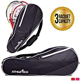 Athletico Bolsa de Tenis Acolchada para Proteger Raquetas y Ligera, Diseño Unisex para Hombres, Mujeres, Jóvenes y Adultos, 3 Racquet, Negro