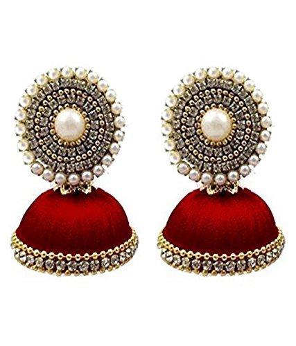 Tia Crafts Handmade Silk Thread Jhumki Earrings for Women