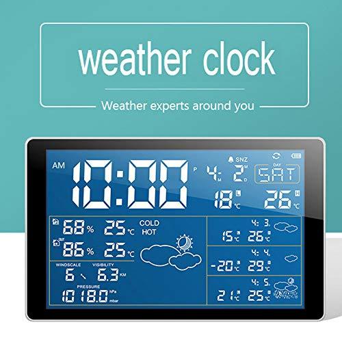 SMAERTHYB LED-Digital-Wecker-Farbprognose Drahtlose Bluetooth-Wetterstation-Barometer-Station