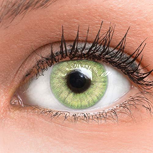 Glamlens lenti a contatto colorate verdi light green - mensili - con porta lenti a contatto - verde naturali in silicone idrogel - 2 pezzi - dia 14.0 - senza correzione 0.00 diottrie lente a contatto