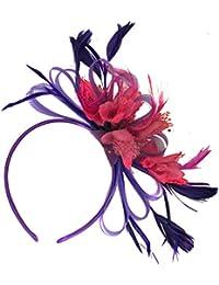 Caprilite Fashion Cadbury Morado y fucsia rosa neta aro plumas Tocado para cabello diadema boda Royal Ascot de carreras