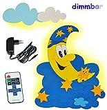 3-D Wandlampe - LED dimmbar mit Fernbedienung / Lichtprogrammen aus Holz - Mond und Sterne - Lampe mit Schalter für Kinder - Kinderzimmer Kinderlampe Wandleuc..