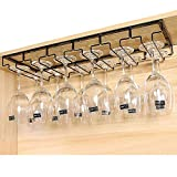 K9CK Portabicchieri Porta Calici di Vino con 6 Binari - Porta Calici da Sottopensile Metallo - Porta Tazze da Parete appendi calici da Muro