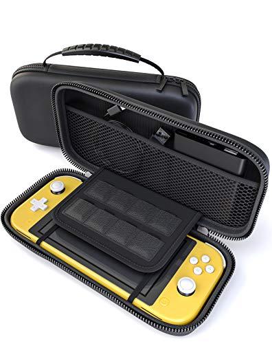 innoGadgets Tasche kompatibel mit Nintendo Switch Lite | Aufbewahrungstasche mit 8 Spielkartenhalter | Schutzhülle, Transporttasche, Hülle | Hartschale, Schwarz -